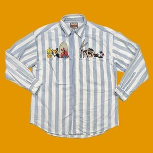 Vintage Looney tunes Striped button up long sleeve